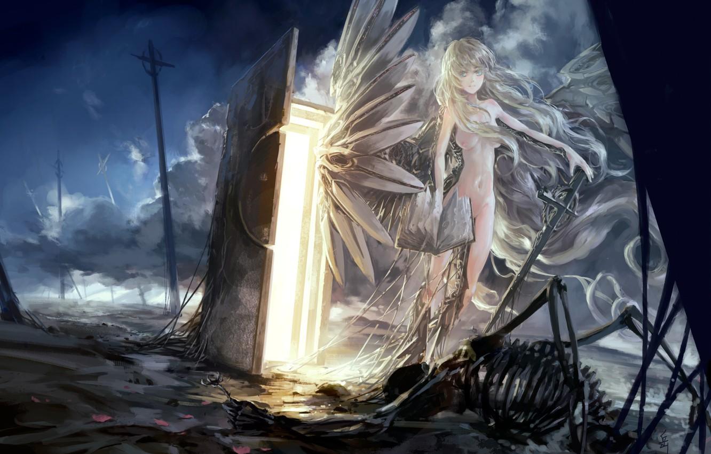 Photo wallpaper the sky, girl, clouds, weapons, posts, wire, wings, angel, sword, anime, the door, art, skeleton, …