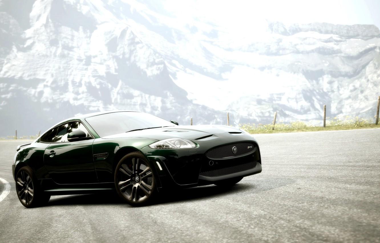 Photo wallpaper road, mountains, coupe, Jaguar XKR-S, Gran Turismo