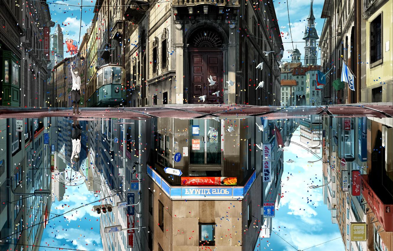 Photo wallpaper the sky, clouds, birds, the city, reflection, holiday, home, umbrella, anime, art, flags, guy, kurono …