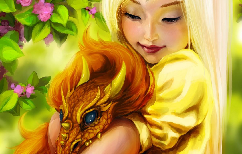 Photo wallpaper flowers, smile, dragon, fantasy, girl, girl, fantasy, Fantasy, smile, art, flowers, dragon, Ink-pot
