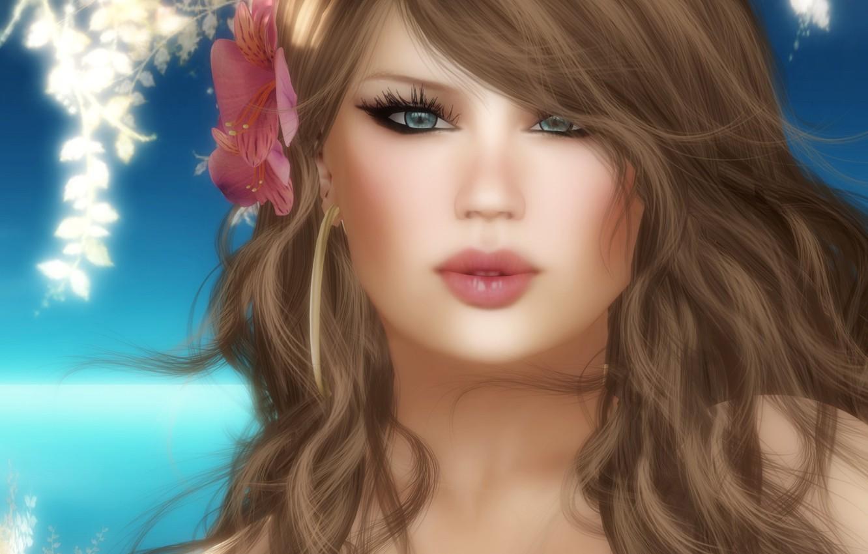 Photo wallpaper flower, girl, rendering, portrait, visualization, art, 3d., hair, Portraits