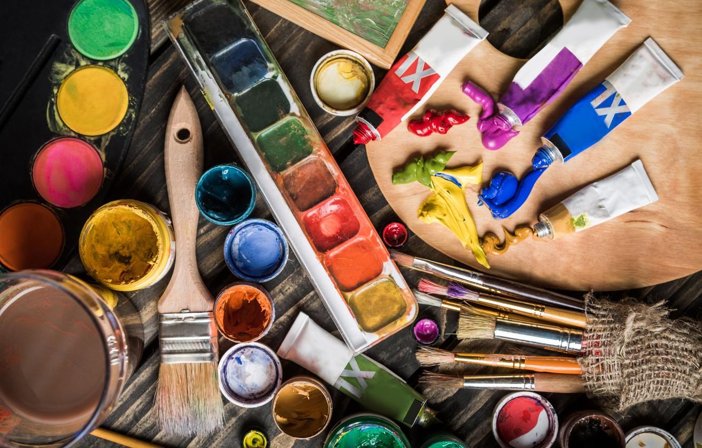 Photo wallpaper macro, paint, oil, blur, watercolor, artist, palette, creativity, art, brush, tubes, drawing, brush, bokeh, easel, …