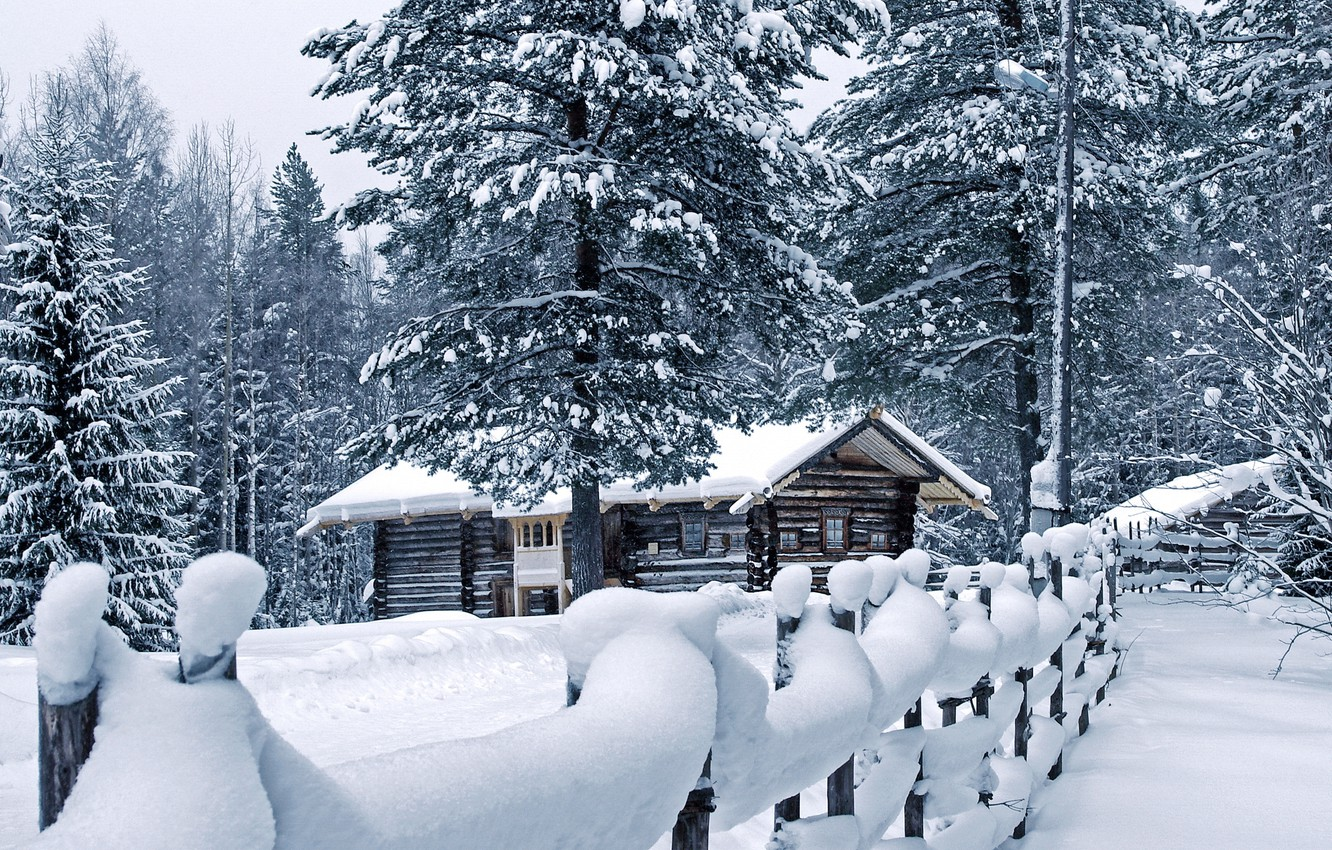 Photo wallpaper winter, snow, house, the fence, the snow, pine, weather