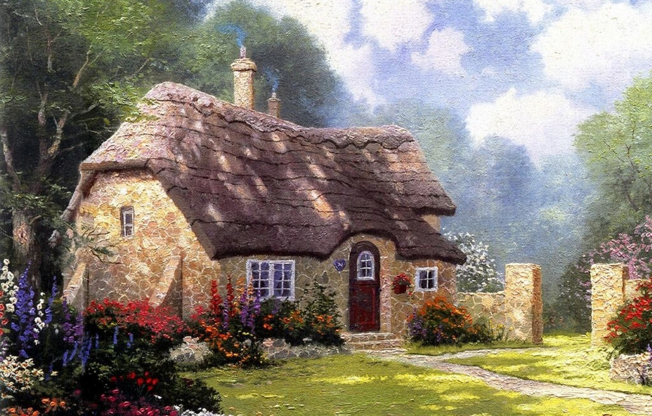 Photo wallpaper roof, the sky, clouds, flowers, day, house, summer, painting, cottage, beautiful, solar, stone, Thomas Kinkade, …
