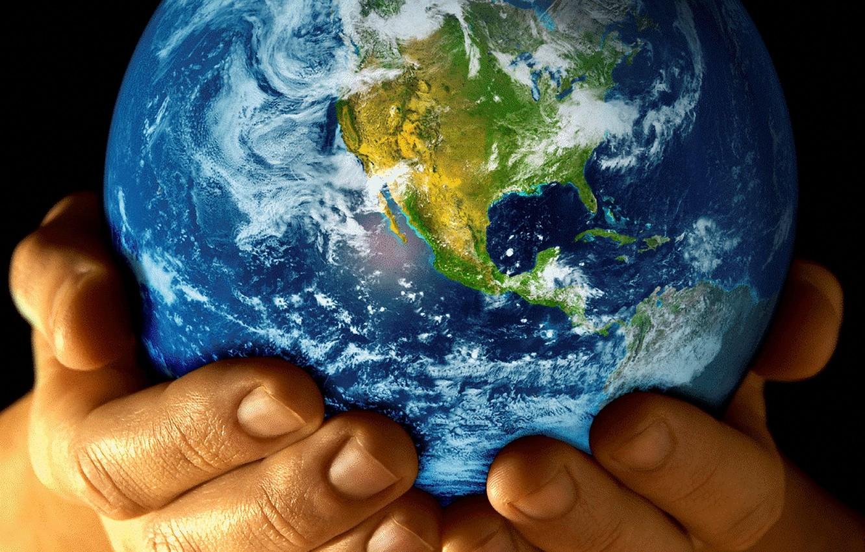 Photo wallpaper planet, hands, Earth
