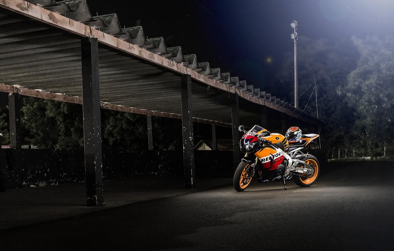 Photo wallpaper night, motorcycle, canopy, honda, bike, Honda, repsol, cbr1000rr
