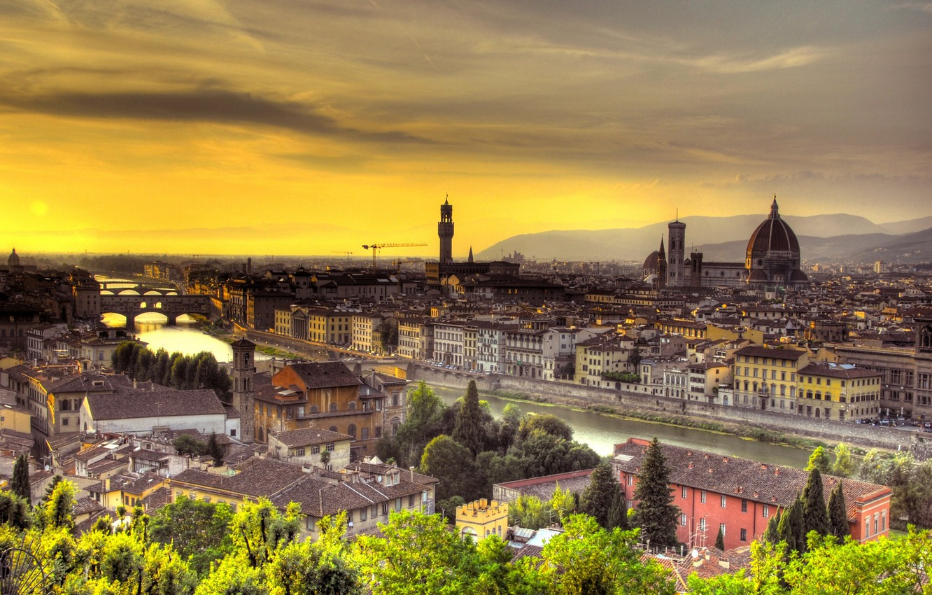 Photo wallpaper sunset, Italy, Florence, Italy, Sunset, Florence