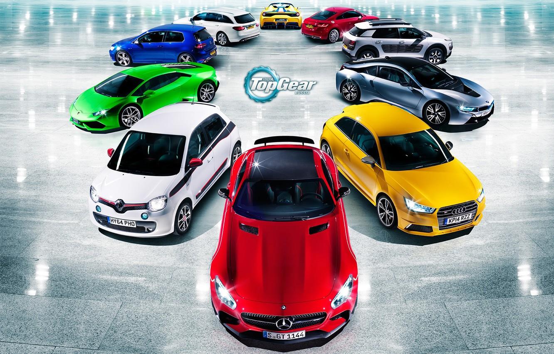 Photo wallpaper Audi, Mercedes-Benz, Lamborghini, BMW, Volkswagen, Renault, Top Gear, Ferrari, Citroen, Red, Blue, Green, White, Yellow, …