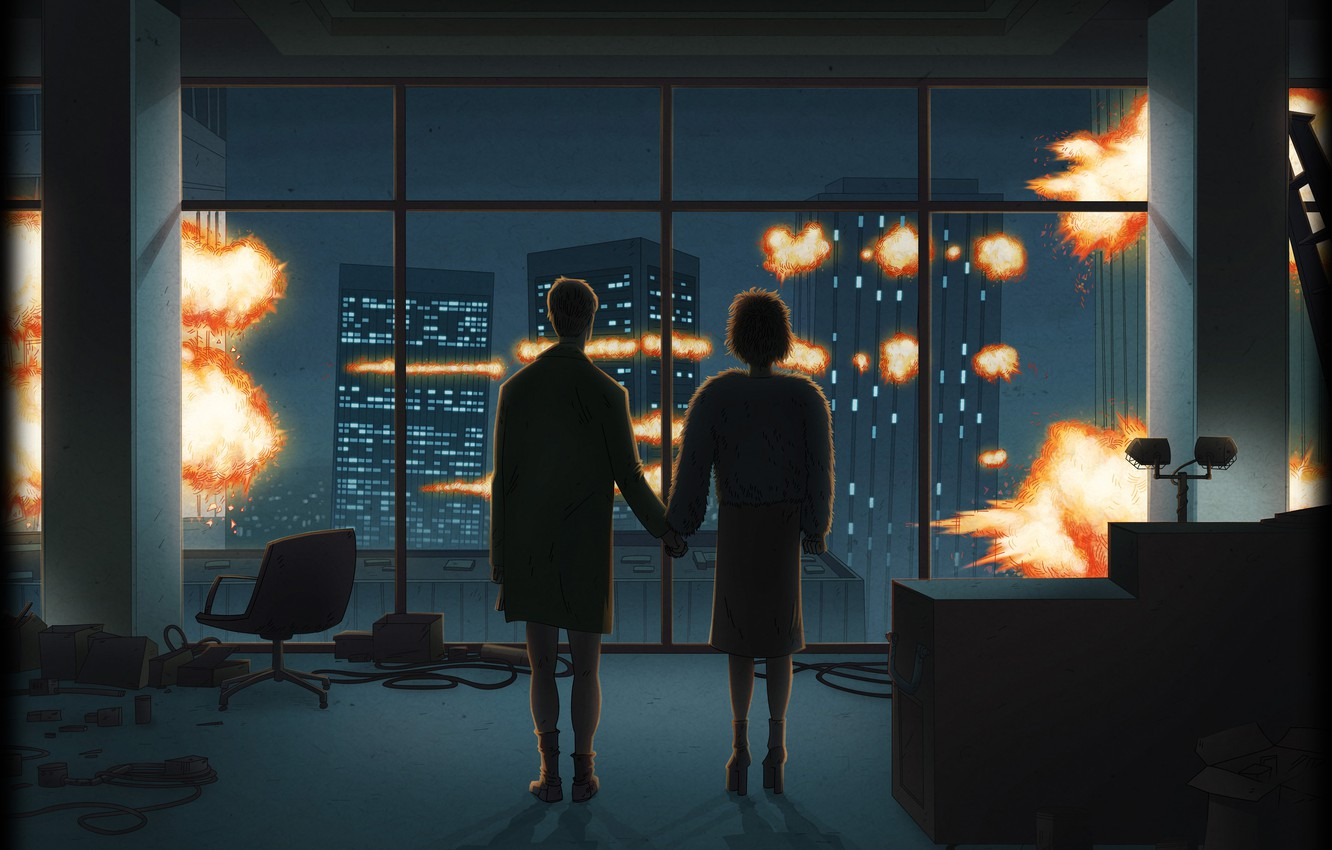Photo wallpaper the explosion, the film, art, fight club