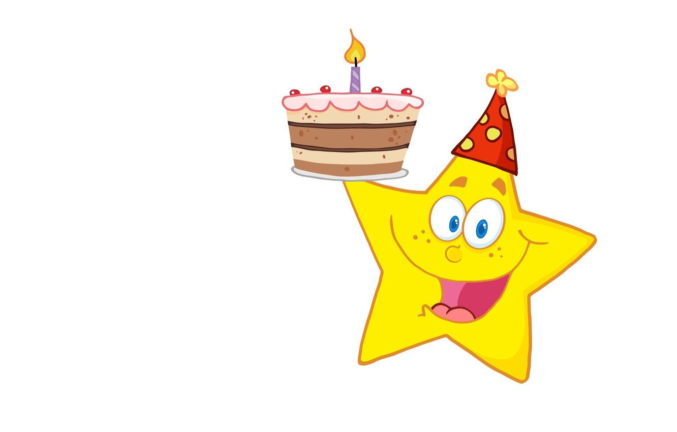 Photo wallpaper smile, background, mood, holiday, vector, art, candle, asterisk, cake, children's, Birthday
