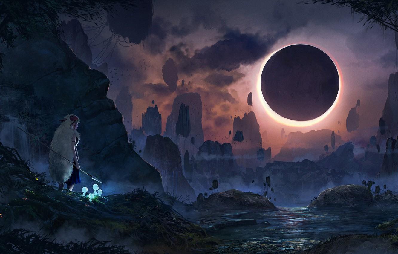 Photo wallpaper girl, landscape, mountains, night, river, stones, rocks, the moon, perfume, Eclipse, Princess Mononoke, Princess Mononoke, …