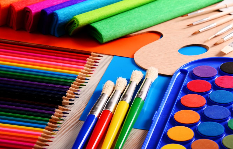 Photo wallpaper color, paint, bright, pencils, colorful, brush