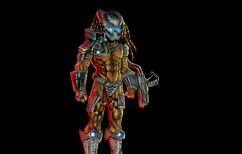Photo wallpaper the dark background, predator, alien, alien, predator