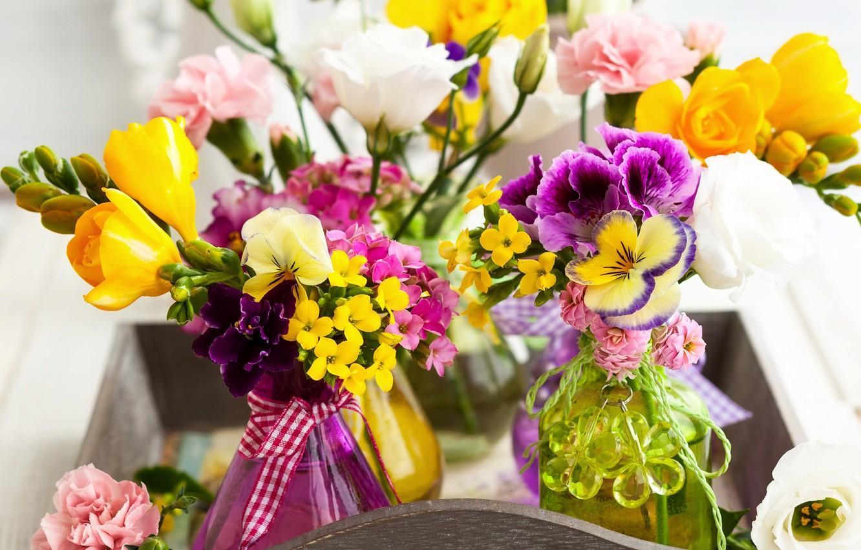 Photo wallpaper colorful, beautiful, eustoma, freesia, Bouquets, Freesia, Eustoma