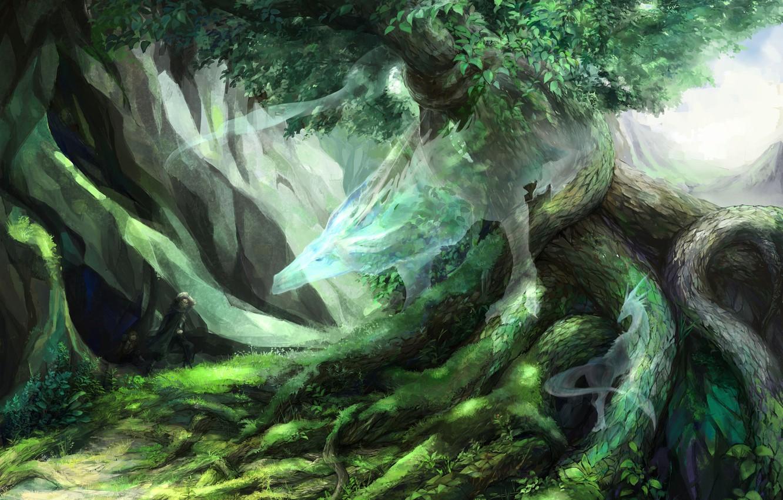 Photo wallpaper nature, tree, dragon, spirit