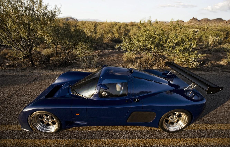 Photo wallpaper Sky, Blue, Road, Supercar, Trees, Desert, GTR1, Ultima