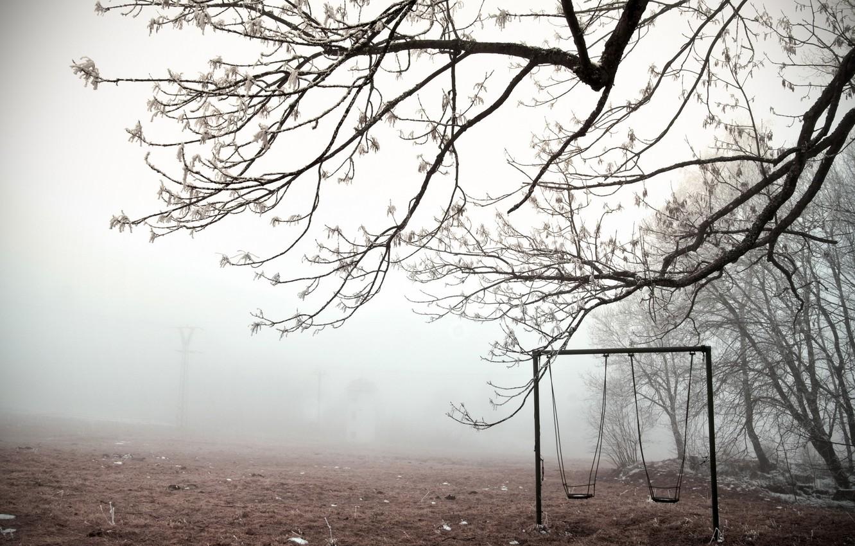 Photo wallpaper winter, fog, swing