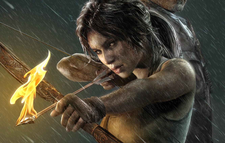 Photo wallpaper girl, rain, fire, the game, arrow, Tomb Raider, girl, game, Lara Croft