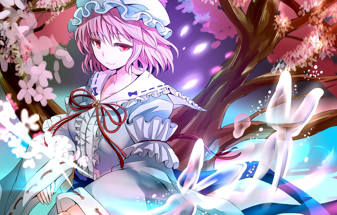 Photo wallpaper girl, trees, flowers, butterfly, anime, petals, fan, art, touhou, saigyouji yuyuko, gibuchoko
