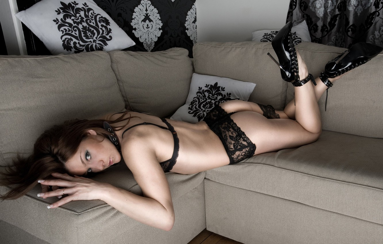 Photo wallpaper sofa, piercing, shoes, brown hair, Brunette