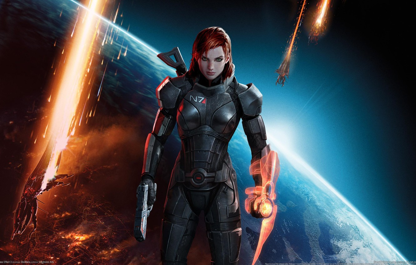 Photo wallpaper girl, space, weapons, explosions, ships, Earth, space, red, guns, girl, armor, Earth, red hair, green …