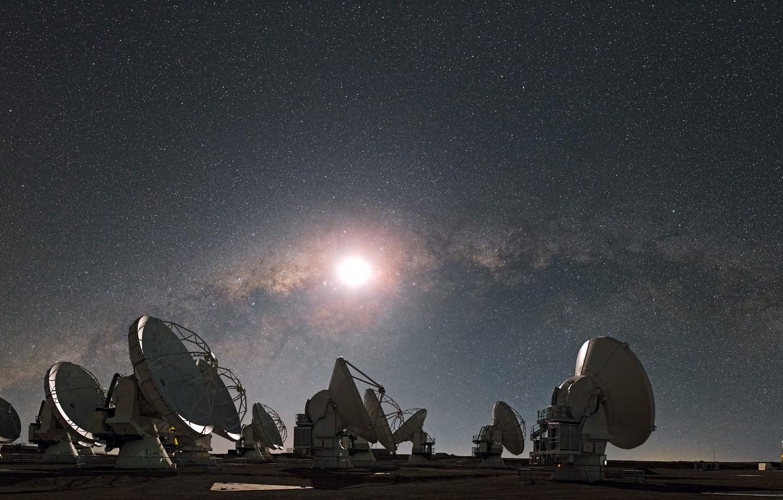 Photo wallpaper stars, The moon, The milky way, radio telescope
