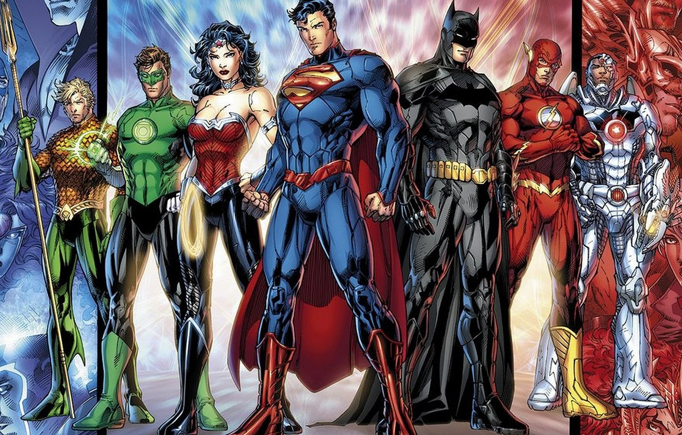 Photo wallpaper Wonder Woman, Batman, Superman, dc comics, Cyborg, Flash, Aquaman, Green lantern, Justice league