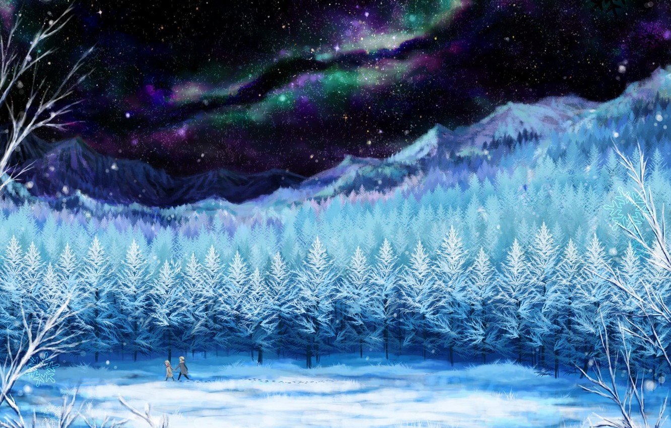 Photo wallpaper winter, the sky, girl, stars, snow, trees, landscape, night, traces, nature, Northern lights, anime, art, …