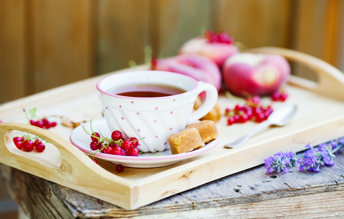 Photo wallpaper tea, red, cake, fruit, red, peaches, cake, currants, cakes, fruit, sweet, sweets, tea, peaches, currant, …