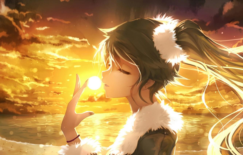 Photo wallpaper the sky, girl, the sun, clouds, sunset, anime, art, vocaloid, hatsune miku, bai yemeng