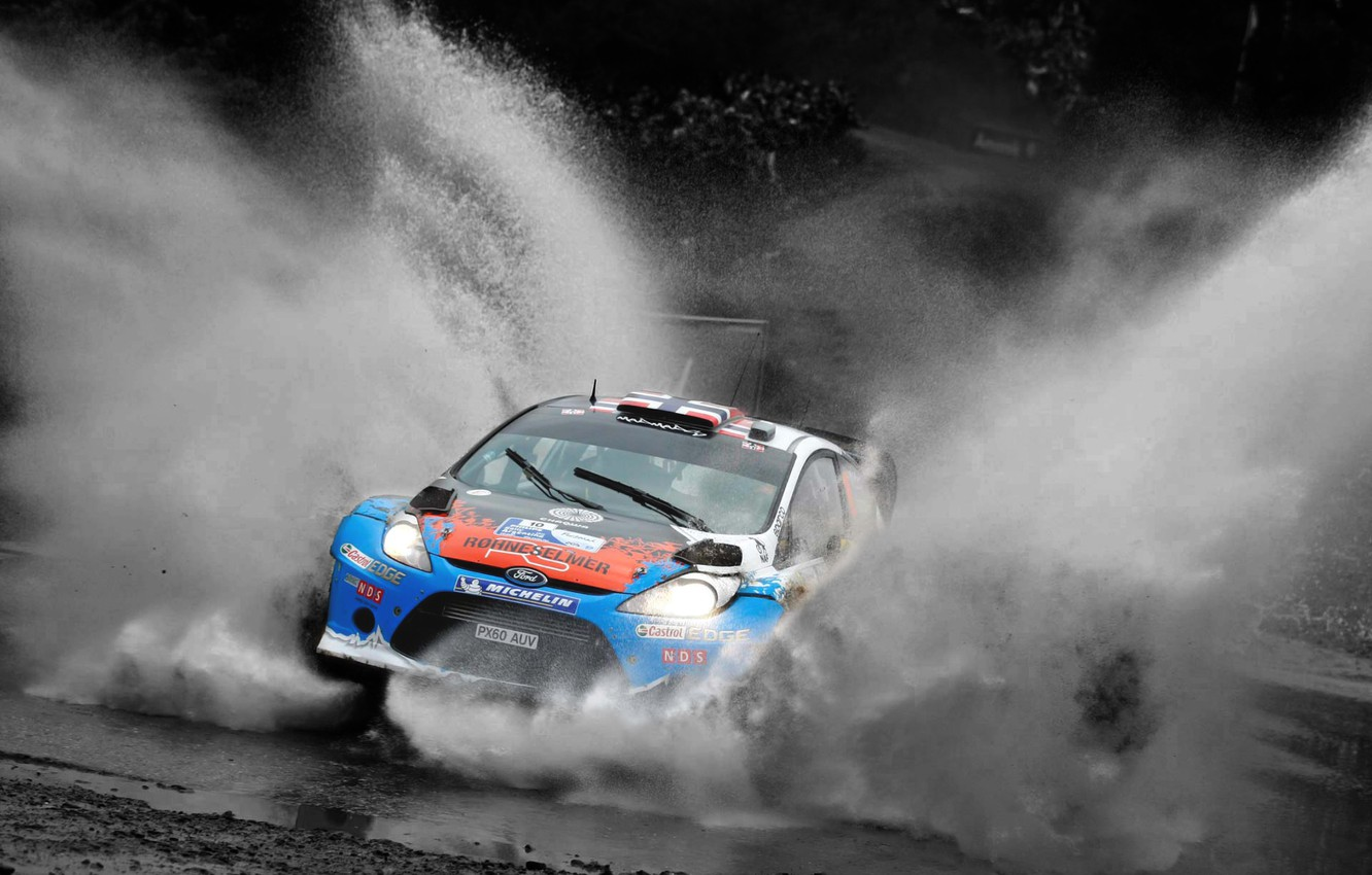 Photo wallpaper Ford, Water, Auto, Sport, Speed, Race, The hood, Squirt, Lights, WRC, the front, Rally, Rally, …