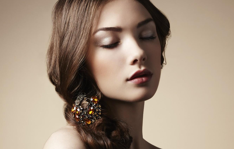 Photo wallpaper girl, hair, makeup, decoration, barrette, closed eyes