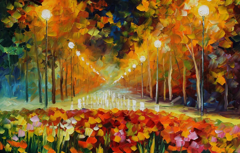 Photo wallpaper light, street, picture, lights, painting, Leonid Afremov