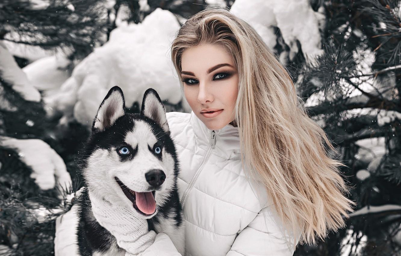 Photo wallpaper winter, look, face, girl, snow, portrait, dog, friends, husky, Husky, Anastasia, Nastya, Anton Harisov, Anton …