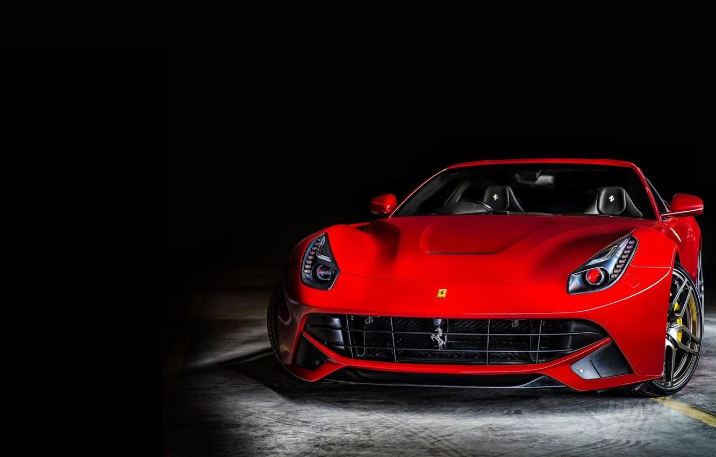 Photo wallpaper Ferrari, Ferrari, Red, Lights, Parking, Front, Supercar, Before, Parking, Supercar, Berlinetta, Berlinetta, F12, Headlight, Kahn …
