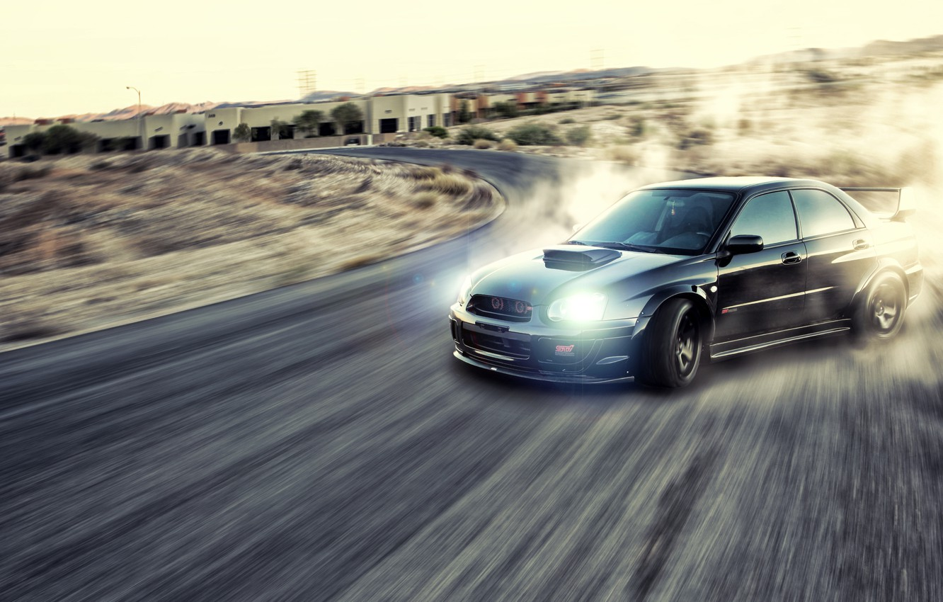 Photo wallpaper road, smoke, dust, skid, drift, Subaru, Subaru Impreza, Sti, Wrx, Subaru Impreza wrx