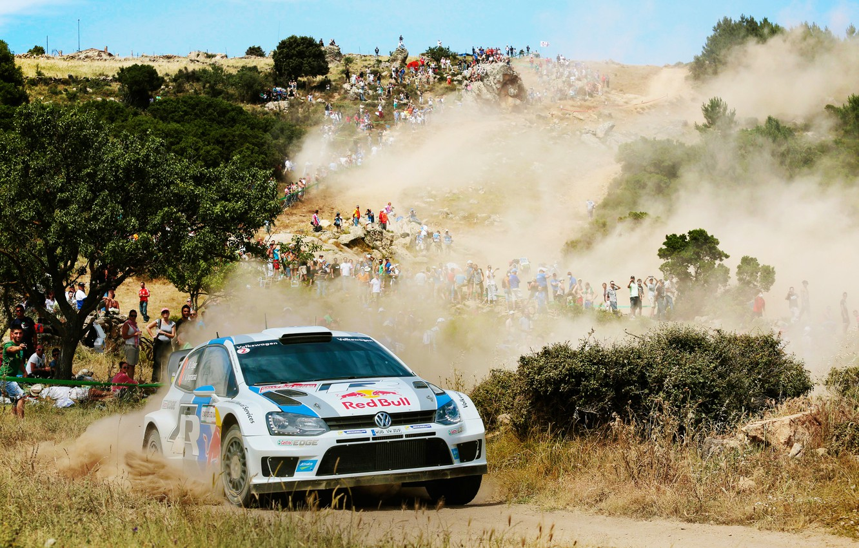 Photo wallpaper Dust, White, Volkswagen, Speed, People, Turn, Day, Heat, WRC, Rally, Polo
