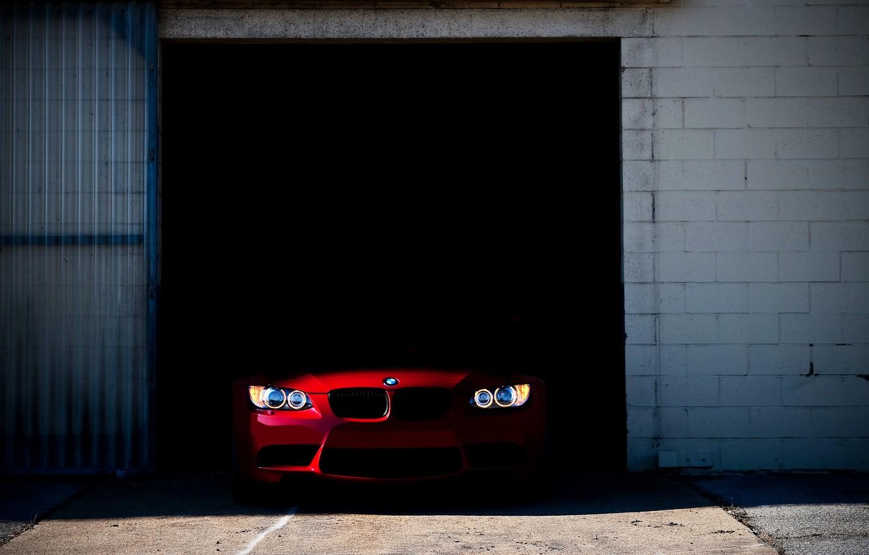 Photo wallpaper machine, lights, bmw, BMW, garage, E92