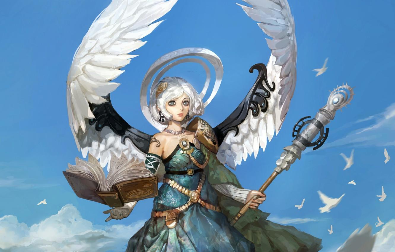 Photo wallpaper the sky, girl, birds, wings, angel, book
