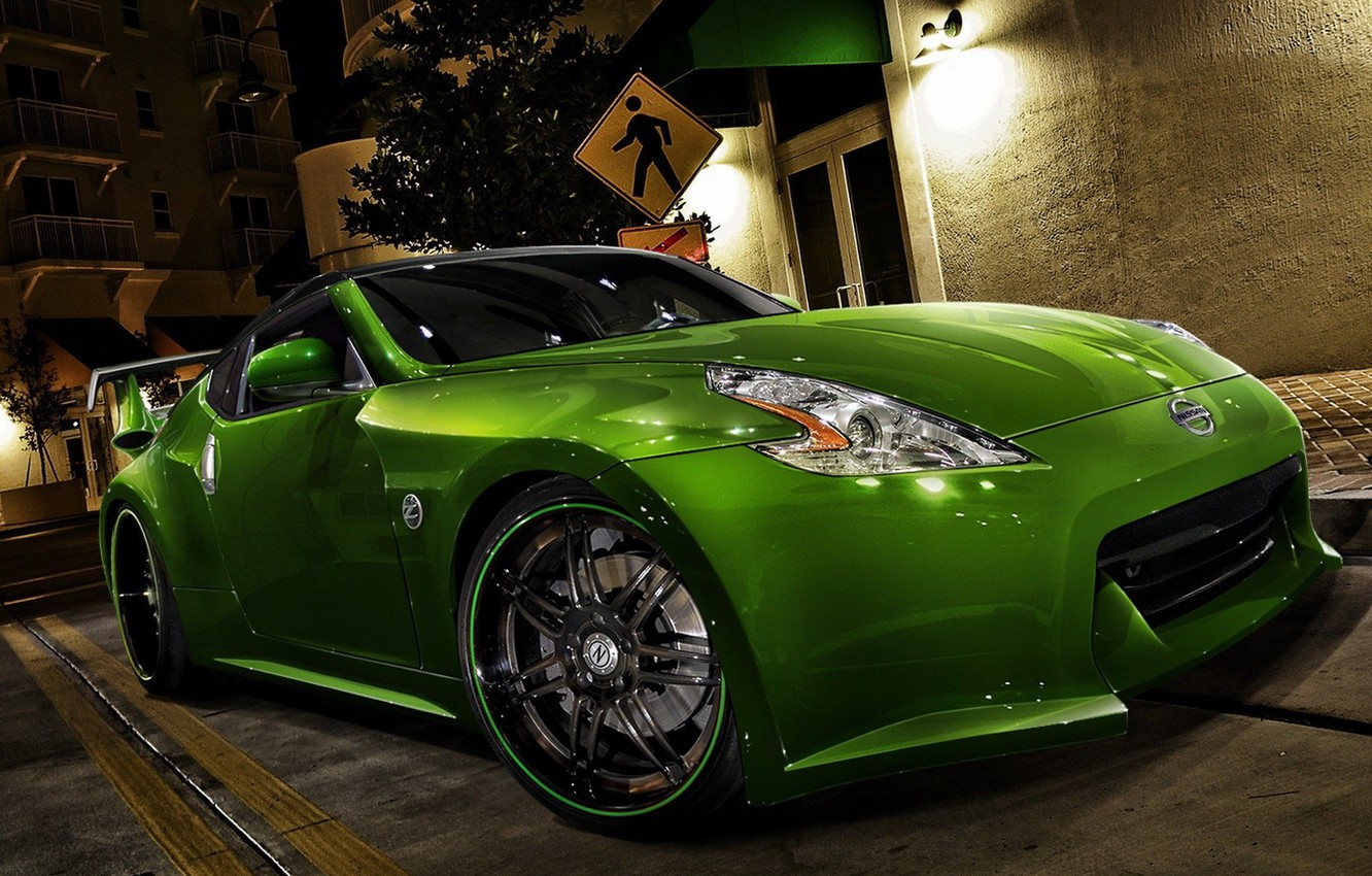 Photo wallpaper Green, Tuning, Nissan