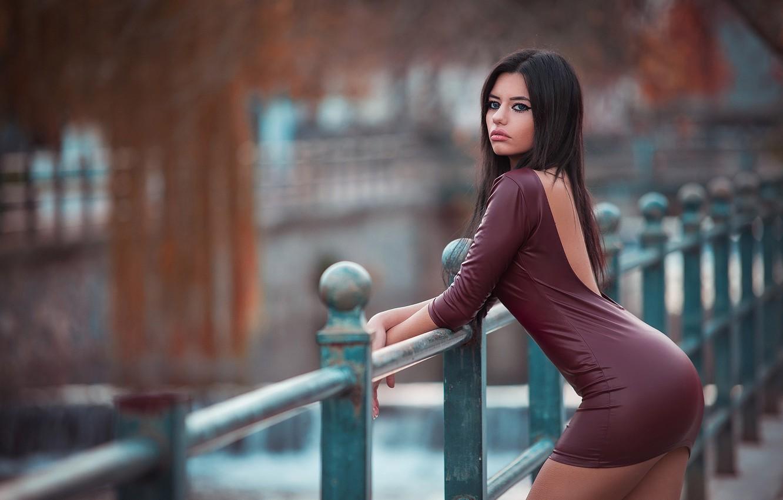 Photo wallpaper girl, the fence, dress, photographer, bokeh, Dimitris Konstantinidis, Marianna Bafiti