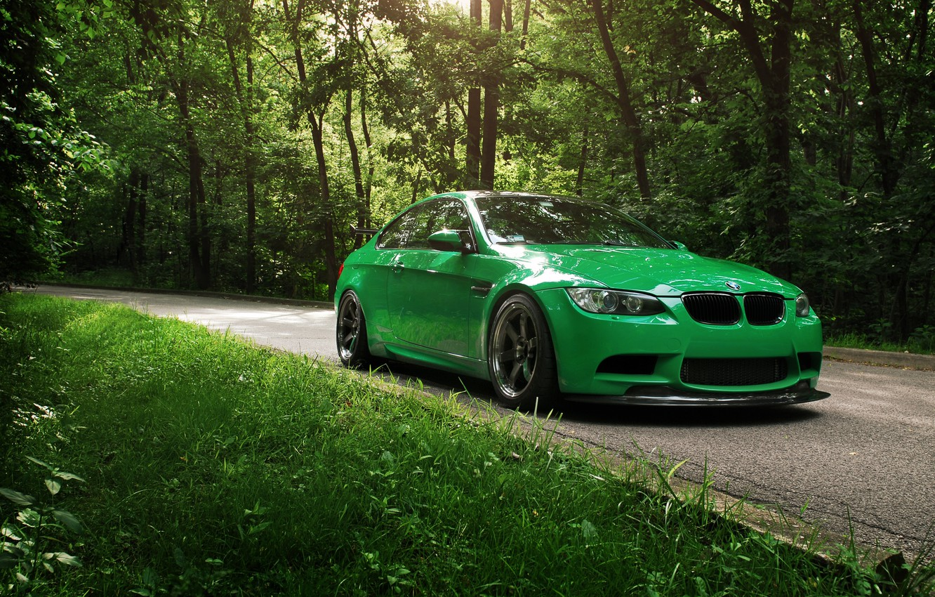 Photo wallpaper road, greens, summer, BMW, Cleaner Green