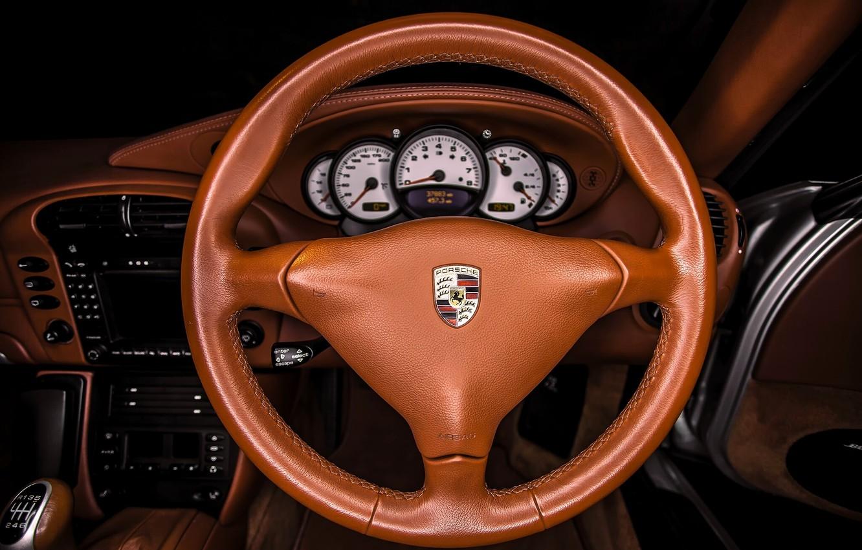 Photo wallpaper interior, leather, Porsche, the wheel, Carrera, dashboard, Porsche 911 Carrera