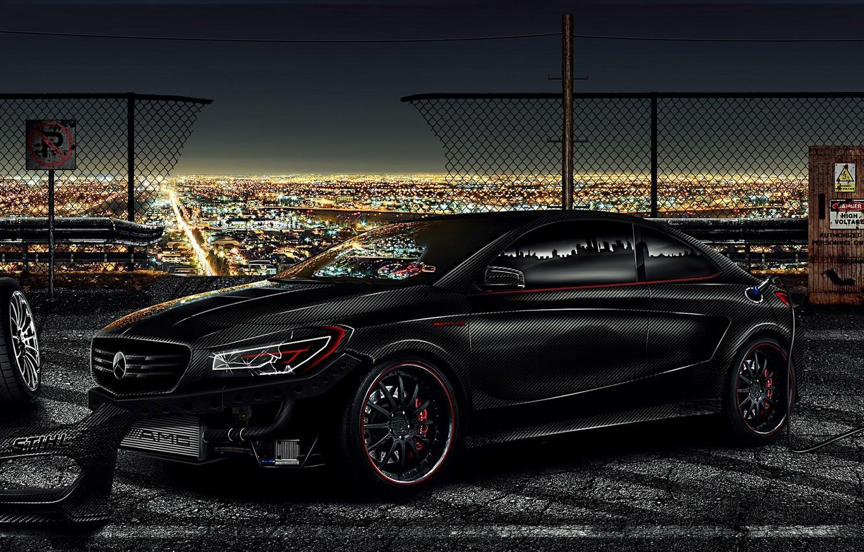 Photo wallpaper Mercedes-Benz, Mercedes, Bumper, Carbon, Carbon, Tuning, 2013, Brake, Benz, CLA, Electric, Tires