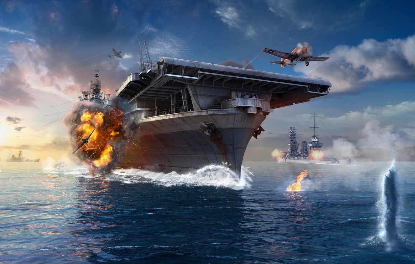 Photo wallpaper The sky, Water, Clouds, Wave, Smoke, Aircraft, Ship, Ships, Flame, The carrier, Wargaming Net, WoWS, …