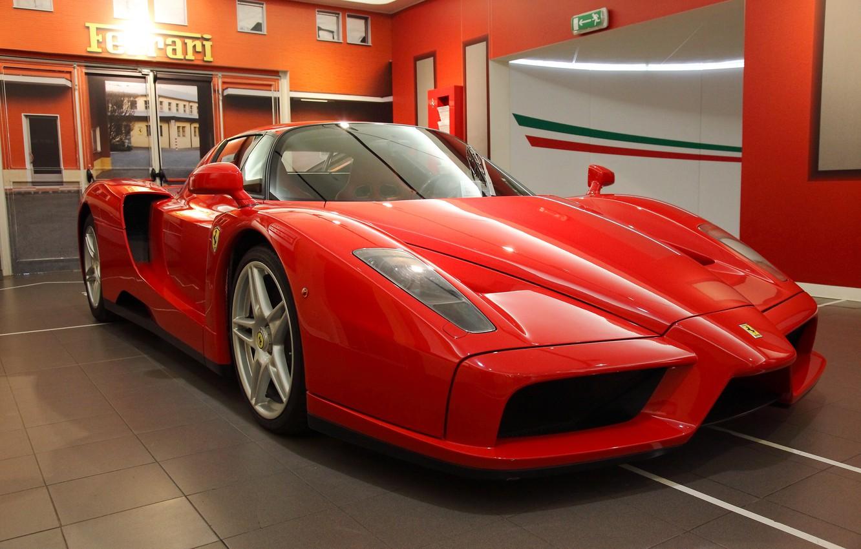 Photo wallpaper Ferrari, red, supercar, Enzo, salon