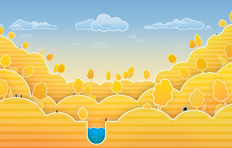 Photo wallpaper autumn, clouds, trees, lake, hills, apples, rabbits, tree, hedgehog