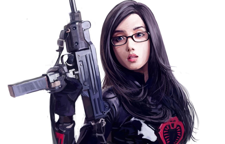 Photo wallpaper girl, weapons, art, glasses, white background, Asian, Dtoxin