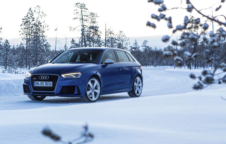 Photo wallpaper photo, Audi, Winter, Blue, Snow, Car, Sportback, RS3, 2015, Metallic