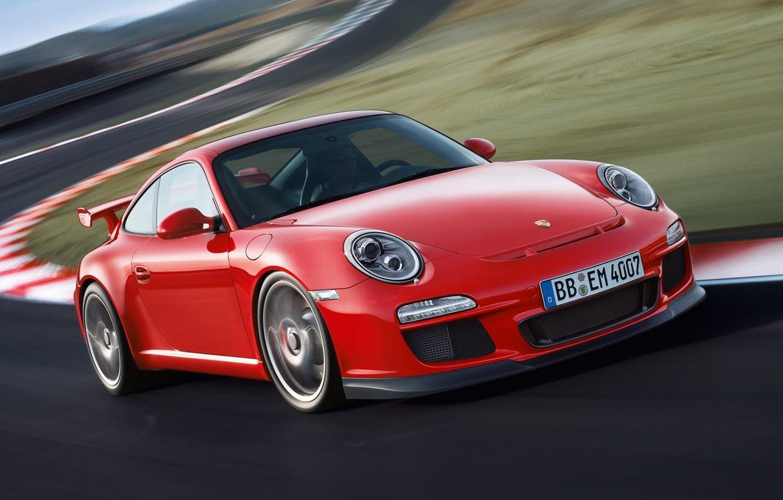 Photo wallpaper 911, 997, Porsche, Porsche, GT3, the front, GT3.red
